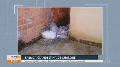 Polícia apreende 1 tonelada de carne estragada em fábrica clandestina em RO - Responsável pela carne e o local fugiu; caso é investigado.