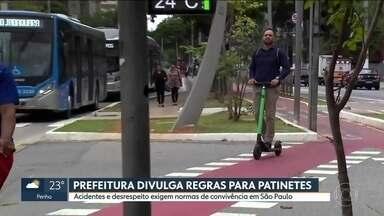 Prefeitura divulga novas regras para patinetes - Acidentes e desrespeito exigem normas de convivência em São Paulo.