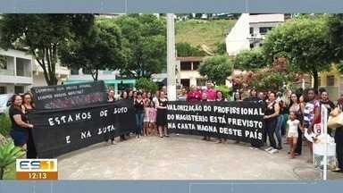Professores de Alegre, ES, fazem paralisação contra bloqueios na educação - Protesto aconteceu nas ruas de Alegre.