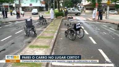 Vagas de estacionamento ocupadas por cadeiras de rodas alertam motoristas em Vitória - Ação aconteceu das 7h às 10h. Motoristas não puderam estacionar os carros nas vagas destinadas a cadeirantes.