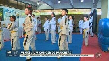 Ex-árbitro de basquete cria projeto social em outra modalidade, em Campinas - Sérgio de Jesus Pacheco venceu um câncer no pâncreas e criou projeto de taekwondo.