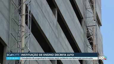 Instituição decreta luto de três dias após morte de estudante - Ela era estagiária e estava dentro da obra no momento em que parte da estrutura desabou