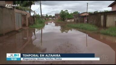 Temporal provoca alagamento em Altamira afetando famílias que precisam ser remanejadas - Água invadiu casas.