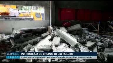 Estagiária morre esmagada em desabamento numa obra em Maringá - O acidente foi na construção de um bloco na universidade.