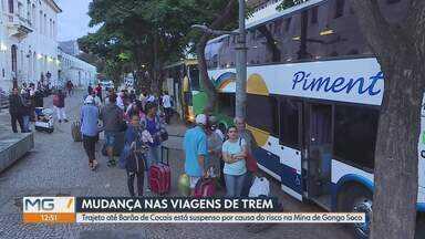 Rota do trem Vitória-Minas é alterada depois de risco de rompimento em mina da Vale - Trecho entre Belo Horizonte e Barão de Cocais está sendo feito de ônibus.