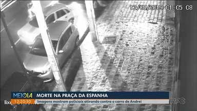 Praça da Espanha: imagens mostram policiais atirando no carro de Andrei - Testemunha disse que ouviu os tiros na Vicente Machado.