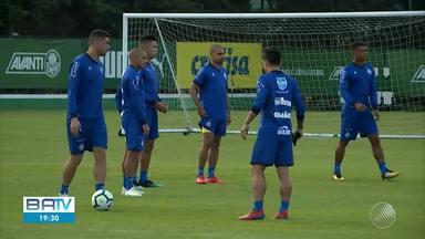 Bahia treina no CT do Palmeiras antes de enfrentar o São Paulo nesta pela Copa do Brasil - Partida é válida pelas quartas de finais da competição e acontece nesta quarta-feira (22), no estádio do Morumbi.