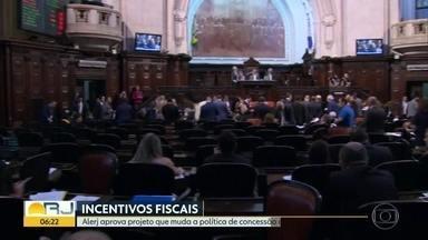 Alerj aprova projeto que muda política de incentivos fiscais - Se sancionada, proposta começa a valer em 90 dias.