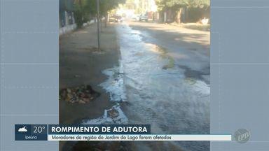 Adutora rompe e afeta fornecimento de água no Jardim do Lago, em Campinas - Empresa fazia manutenção subterrânea quando a tubulação rompeu, na tarde desta quarta-feira (22).