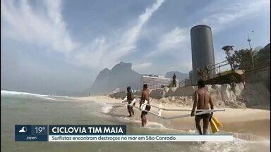 Previsão do tempo com Anne Lottermann - Perigo no mar! Destroços da ciclovia Tim Maia, que estão dentro do mar, se transformam em risco pra banhistas e surfistas.