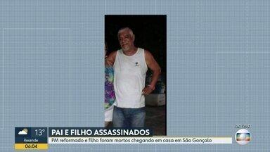 PM aposentado e filho são assassinados em São Gonçalo - Os bandidos fugiram do local do crime sem levar nada.