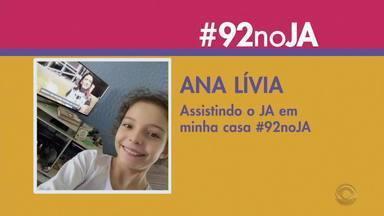 Telespectadores participam do Jornal do Almoço pela #92NoJA - Assista ao vídeo.