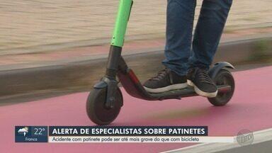 Especialistas alertam sobre os riscos de acidentes com patinete - Alguns casos podem ser mais graves do que com bicicleta.