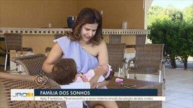 Amor em dose dupla: Após 9 tentativas de inseminação, Tânia adotou casal de irmãos - Amor em dose dupla: Após 9 tentativas de inseminação, Tânia adotou casal de irmãos