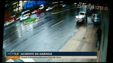 Câmera flagra acidente em que mulher é arremessada de carro - Acidente foi em Maringá.