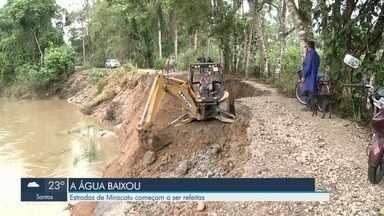 Trabalhos são retomados após chuvas atingirem estradas de Miracatu, no Vale do Ribeira - O trecho ficou prejudicado principalmente por conta da cheia do Rio São Lourenço.