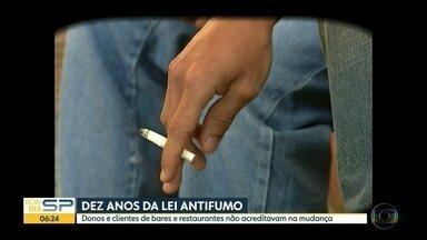 Lei Antifumo em SP completa 10 anos - Desde a implementação da lei, em maio de 2009, número de fumantes na capital caiu em cerca de 500 mil pessoas, segundo o Ministério da saúde.