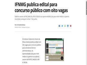 Vagas do concurso do IFNMG é destaque no G1 - São oferecidas oito vagas para concurso público.