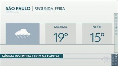 Frente fria traz chuva e frio, na retaguarda, para a Grande São Paulo e o litoral - Madrugadas dessa semana serão geladas. Confira.