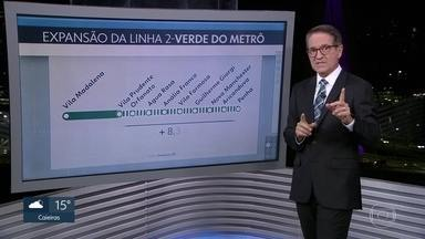 Governo do estado anuncia a retomada da expansão da linha 2-Verde do Metrô - Serão construídas mais 8 estações até o bairro da Penha, num total de mais 8,3 km de Metrô para a zona leste da Capital