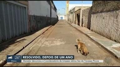 Após cobrança, Prefeitura retira lixo na Travessa Piruna, em Ribeirão Preto, SP - Espera levou quase um ano e meio, segundo moradores.