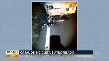 Casal de ciclistas é atropelado em estrada vicinal em Presidente Epitácio - Mulher, de 35 anos, não resistiu aos ferimentos e morreu.