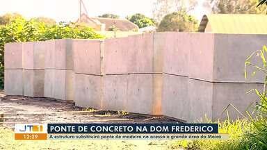Obras da ponte do Jutaí, em Santarém, alteram trânsito na área; veja rota alternativa - Ponte de madeira está sendo substituída por estrutura em concreto.