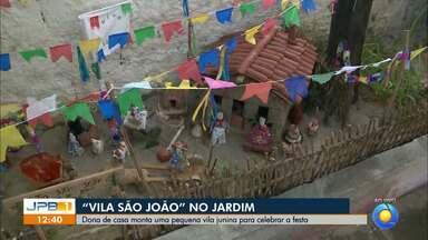 Moradora de Mangabeira faz sítio em homenagem a São João no jardim de casa - Ao vivo, Danilo Alves mostra o jardim.