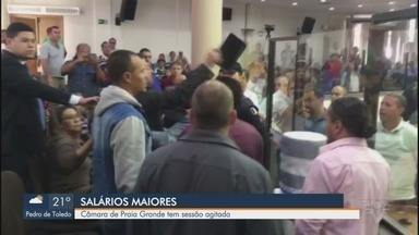 Redução do número de vereadores em Praia Grande é aprovada na Câmara - Votação ocorreu nesta terça-feira (4) e gerou confusão entre vereadores.
