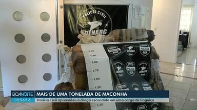 Polícia Civil apreende grande quantidade de droga escondida em uma carga de linguiça - Mais de uma tonelada de maconha estava dentro de um caminhão frigorífico.