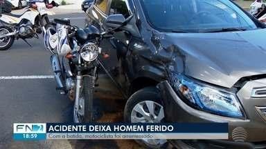 Motociclista fica gravemente ferido após colisão com carro - Acidente aconteceu em Presidente Prudente.