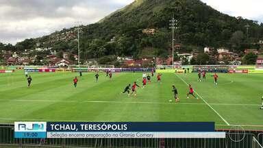 Seleção Brasileira encerra preparação na Granja Comary, em Petrópolis, no RJ - Assista a seguir.
