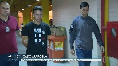 Está preso um dos suspeitos da morte da estudante Marcela Oliveira de 26 anos. - O motivo da morte de Marcela foi o roubo do celular dela. O aparelho foi vendido horas depois pela internet por R$200,00. O autor do disparo que matou a jovem está sendo procurado.