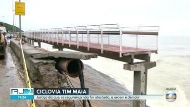 Ciclovia Tim Maia será demolida caso segurança não seja confirmada, determina juíza - Justiça deu prazo de até quatro meses para a conclusão dos reparos na pista.