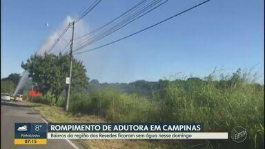 Bairros de Campinas ficaram sem abastecimento de água no domingo - Problema foi causado durante instalação de uma placa na Rodovia Dom Pedro, mas situação foi normalizada pela Sanasa.