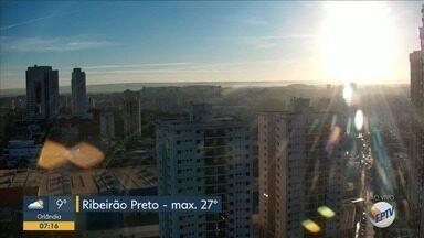 Veja a previsão do tempo para segunda-feira (10) em Ribeirão Preto - Temperatura máxima chega a 27ºC.