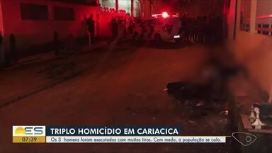 Tiroteio deixa três homens mortos e um adolescente baleado em Cariacica, ES - De acordo com a polícia, o bairro passa por uma guerra pelo tráfico de drogas e os tiroteios são frequentes na região. Nenhum suspeito foi preso.