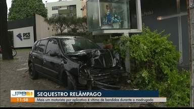 Motorista por aplicativo é vítima de sequestro relâmpago - Crime aconteceu durante a madrugada e bandidos fugiram após motorista bater o carro.