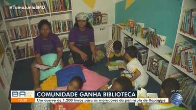 Comunidade da península de Itapagipe ganha biblioteca com mais de 1200 livros - Espaço reúne títulos para crianças e adultos.