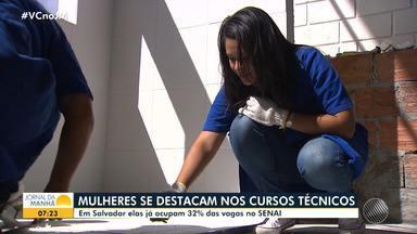 Mulheres se destacam nos cursos técnicos do Senai - Elas já ocupam 32% das vagas; confira.
