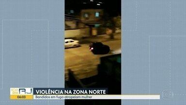 Bandidos em fuga atropelam mulher - Violência na zona norte
