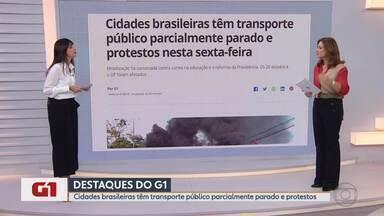 Cidades brasileiras têm transporte público parcialmente parado e protestos - G1 no MG1 apresenta os protestos no país.