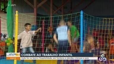Ação reúne adultos e crianças contra o trabalho infantil no Amapá - Programação ocorreu no sábado (15), no município de Santana.