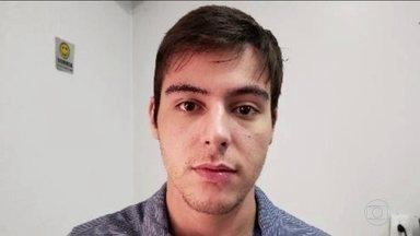 Piloto filmado agredindo namorada é preso em Anápolis, Goiás - Victor Augusto do Amaral foi filmado no fim do ano passado, espancando a advogada Luciana Sinzimbra. Ele estava usando tornozeleira eletrônica e, segundo decisão judicial, violou a regra de se manter longe dela por pelo menos 300 metros.
