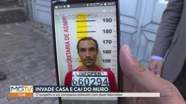 Homem invade casa e cai de muro durante a fuga em Belo Horizonte - O suspeito foi levado para o Hospital João XXIII. Um comparsa dele fugiu com duas televisões.