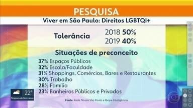 População da capital está menos tolerante em relação à comunidade LGBTQI+ - A pesquisa é da Rede Nossa São Paulo e do Ibope Inteligência