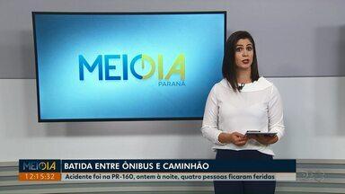 Acidente entre ônibus e caminhão deixa quatro feridos na PR-160 - Batida foi em Telêmaco Borba na noite dessa segunda-feira (17).