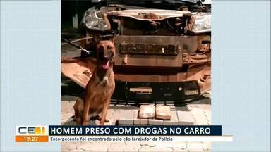 Homem preso com drogas no carro em Acaraú - Confira mais notícias em g1.globo.com/ce