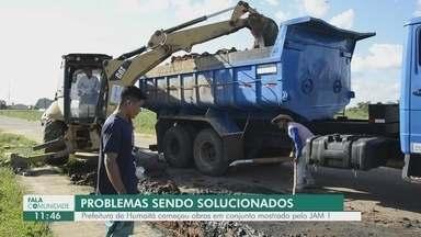 Após denúncia de falta de saneamento básico, prefeitura de Humaitá inicia obras - Moradores protestaram.