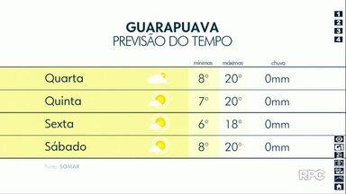 Temperaturas ficam mais amenas no começo do dia na região de Guarapuava - O tempo continua fica firme e seco.